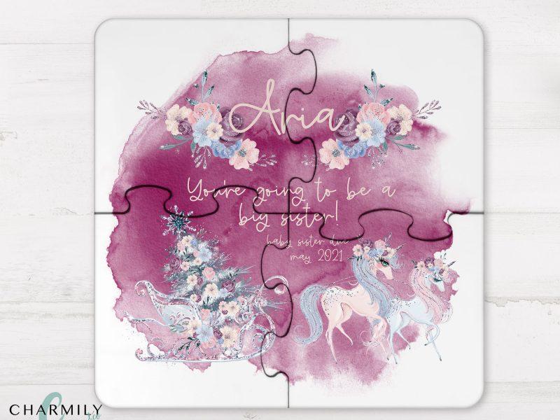 4 Piece Wooden Puzzle - Pregnancy Announcement - Christmas